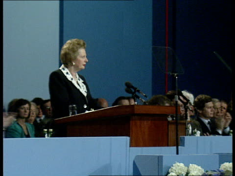 margaret thatcher speech continued sot - talks about dealing with problems of the community charge - poll tax/ private home ownership/ erm / attacks... - husband stock videos & royalty-free footage