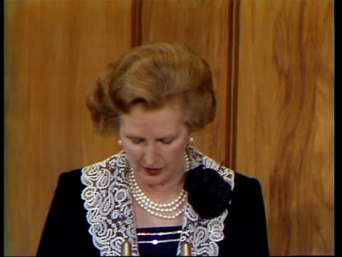 margaret thatcher speech england quotan external intervention that after afghanistanquot video ob unedited speech archive tape 14173 tx - margaret thatcher stock videos & royalty-free footage