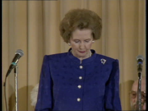 margaret thatcher speech on german unification; england: london: press centre cms pm margaret thatcher along l-r to bv throughstanding ovation bv... - amplifier stock-videos und b-roll-filmmaterial
