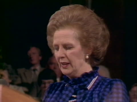 margaret thatcher states that the government will not intervene in the miners strike during a speech at the scottish conservative party conference in... - margaret thatcher stock videos & royalty-free footage