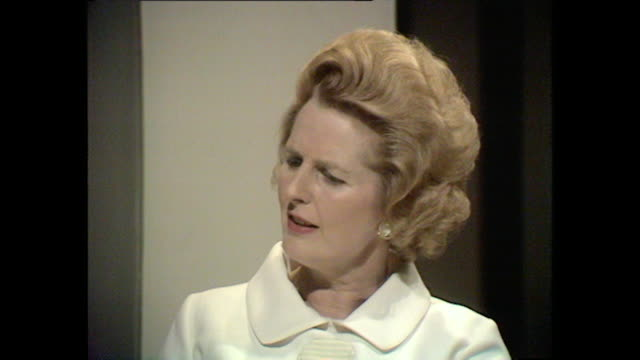 margaret thatcher talks about her experience as a teacher during her university years - margaret thatcher stock videos & royalty-free footage