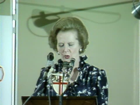 margaret thatcher talks about how british teletext technology has spread around the world at a manufacturers trade show july 1983 - 1983 stock videos & royalty-free footage