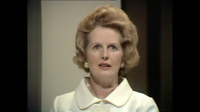 margaret thatcher talks about the importance of personal responsibility and how it lead her to conservative politics. - responsibility stock videos & royalty-free footage