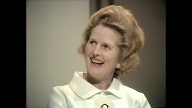 margaret thatcher talks about the time peter thorneycroft mp visited her university campus - margaret thatcher stock videos & royalty-free footage