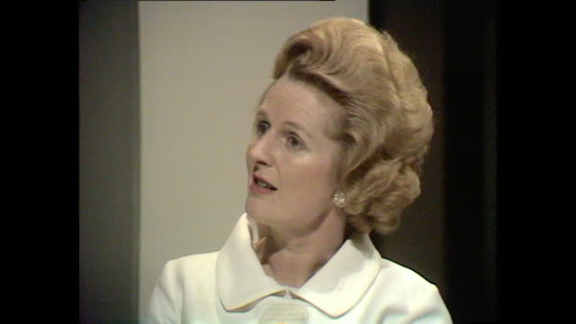 margaret thatcher talks about why she believes private/independent schools are important for maintaining standards in state schools - margaret thatcher stock videos & royalty-free footage