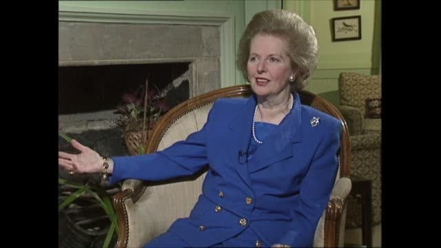 margaret thatcher to step down as interview: part four; clip 2 of 3 england: london: int michael brunson question sot - isn't that always the danger... - passion stock videos & royalty-free footage