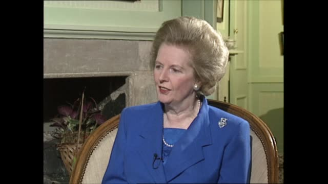 margaret thatcher to step down as interview part one interview clip 1 of 4 london int margaret thatcher mp sat with itn political editor michael... - vehicle seat stock videos & royalty-free footage