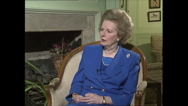 margaret thatcher to step down as interview part three clip 2 of 4 london int margaret thatcher mp interview sot then came the falklands and just the... - atlantic islands stock videos & royalty-free footage