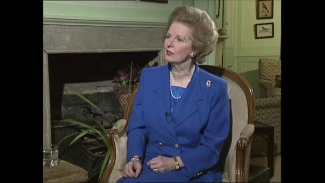 margaret thatcher to step down as interview part three clip 3 of 4 london int margaret thatcher mp interview sot then there were battles over europe... - things that go together stock videos & royalty-free footage
