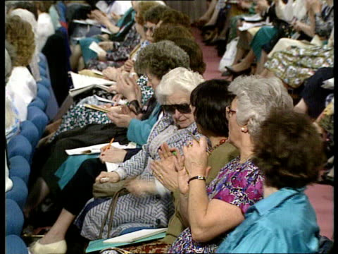 margaret thatcher to step down as mp/reactions itn london westminster ms top table of conferences of tory women pan lr delegates seated cms chris... - pms stock videos and b-roll footage