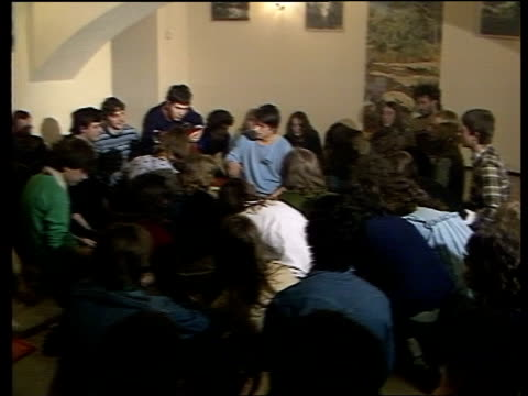 margaret thatcher visit announced hungary budapest int young people singing peace song in cellar vox pops traffic along past blocks of domestic flats... - budapest stock videos & royalty-free footage
