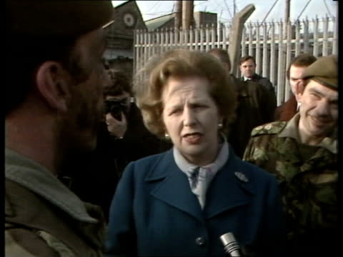 margaret thatcher visit to ulster politics / armed forces margaret thatcher visit to ulster s armagh bessbrook barracks ext ms mrs thatcher and army... - ulster province stock videos & royalty-free footage