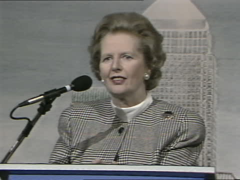 stockvideo's en b-roll-footage met margaret thatcher visits canary wharf development offices; england: london: int margaret thatcher mp speech sot. - when i learned about this project... - greater london