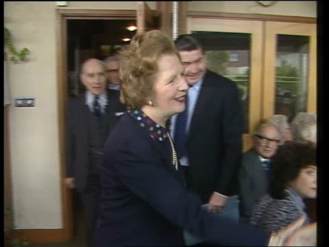 margaret thatcher visits mcdonald's in finchley england london finchley premier margaret thatcher's daimler arrives rl ms thatcher greeted and... - big mac stock videos and b-roll footage