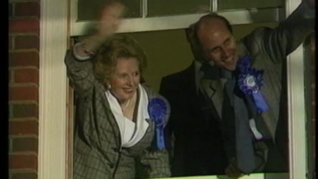 margaret thatcher's personal papers given to the nation s17110602 / tx london photography** margaret thatcher and norman tebbit mp waving from window... - margaret thatcher stock videos & royalty-free footage