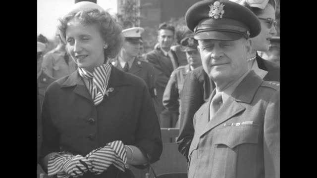 margaret truman daughter of us pres harry truman standing next to us officer at review of us troops at campbell barracks / margaret and to her left... - heidelberg castle stock videos & royalty-free footage