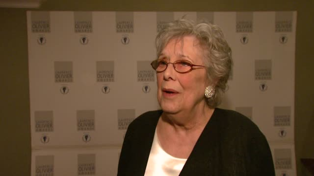 Margaret Tyzack on being pleased but being please for the cast the crew ad the production at the Laurence Olivier Awards 2009 at London