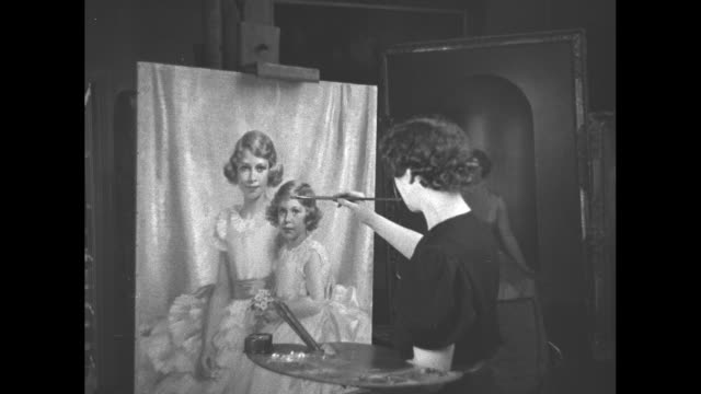 stockvideo's en b-roll-footage met margaret williams painting portrait of princesses elizabeth and margaret for the coronation of george vi / note exact month/day not known - prinses margaret windsor gravin van snowdon