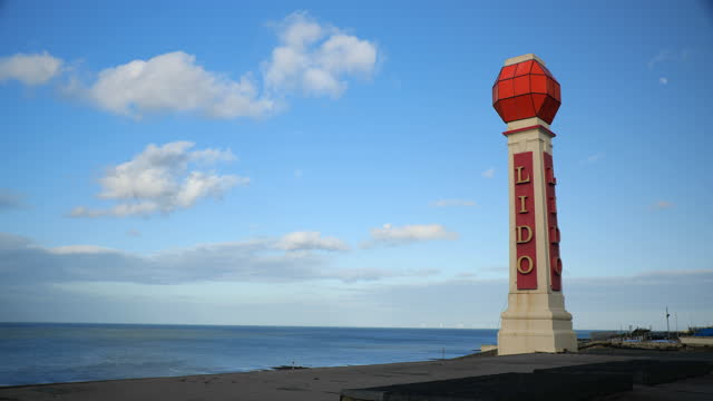 margate lido sign against blue sky, uk - western script stock videos & royalty-free footage