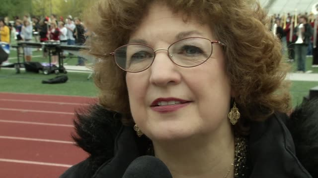 margie fitterling of fitterling dentistry on the event at the barry manilow brings music back to joplin students at joplin mo. - barry manilow stock videos & royalty-free footage