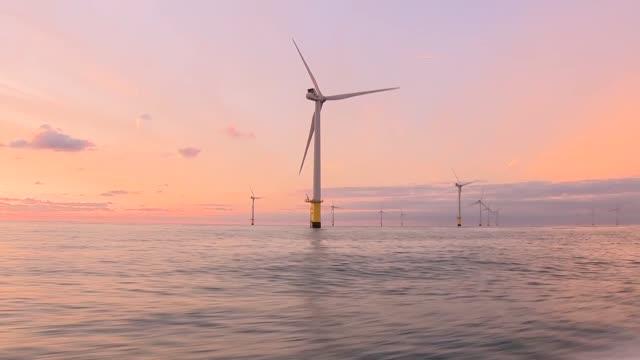 margiris supertrawler fishing in english channel / rampion wind farm off brighton coast general views of rampion offshore wind farm at sunrise /... - morning stock videos & royalty-free footage