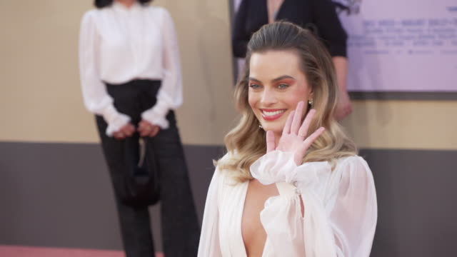 margot robbie at the once upon a time in hollywood premiere at tcl chinese theatre on july 22 2019 in hollywood california - gif file format extension stock videos & royalty-free footage
