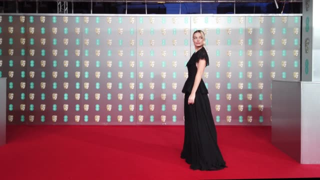 margot robbie attends the ee british academy film awards 2020 at royal albert hall on february 02 2020 in london england - british academy film awards stock videos & royalty-free footage