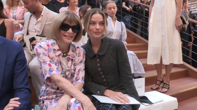 margot robbie, cecile cassel, ines de la fressange, rachel zoe, anna wintour, caroline de maigret, anna brewster and more front row for the chanel... - fashion week stock videos & royalty-free footage