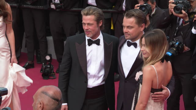 margot robbie, leonardo dicaprio, brad pitt at 'once upon a time in hollywood ' red carpet arrivals the 72nd cannes film festival at grand theatre... - leonardo dicaprio stock videos & royalty-free footage