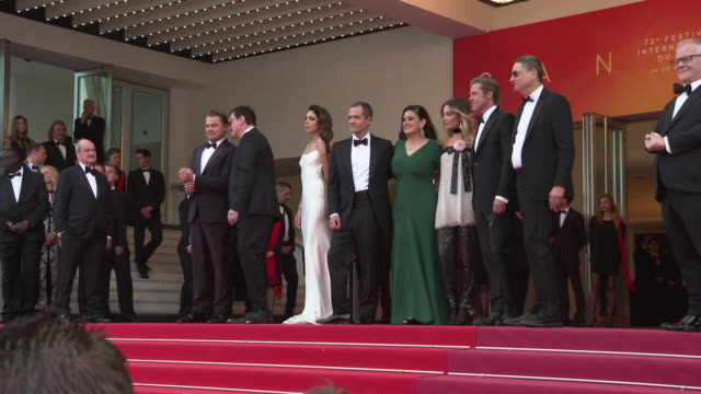 margot robbie quentin tarantino leonardo dicaprio brad pitt at 'once upon a time in hollywood ' red carpet arrivals the 72nd cannes film festival at... - international cannes film festival stock videos & royalty-free footage