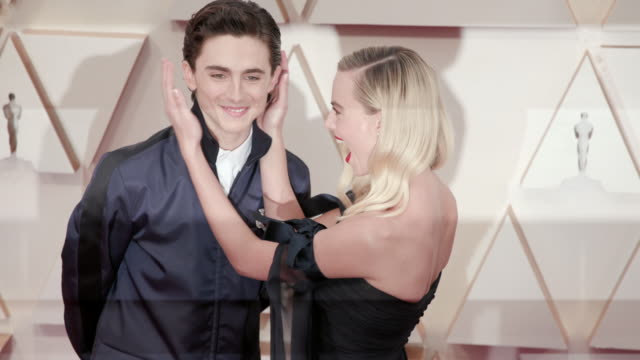 margot robbie, timothée chalamet at dolby theatre on february 09, 2020 in hollywood, california. - academy awards stock videos & royalty-free footage