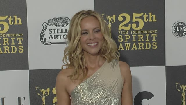 maria bello at the 2010 film independent's spirit awards - arrivals at los angeles ca. - independent feature project stock videos & royalty-free footage