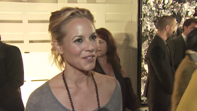 maria bello on attending tonight's event, on the appeal of burberry, and on her favorite burberry piece. at the burberry beverly hills store... - maria bello stock videos & royalty-free footage