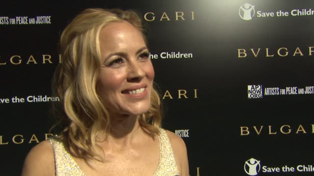 maria bello on being one of the evening hosts, why paul is so deserving of this honor, the importance of having a fashion brand like bvlgari... - maria bello stock videos & royalty-free footage
