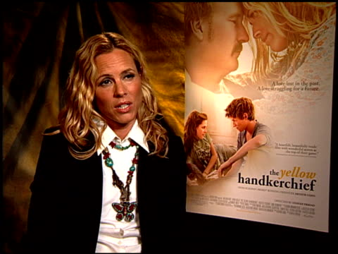 stockvideo's en b-roll-footage met maria bello on her travel to haiti. at the 'the yellow handkerchief' junket at hollywood ca. - maria bello