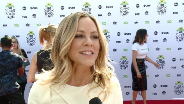 maria bello on the event, on why it's important to rethink education, someone who inspired him, something dhe wished he learned in high school, how... - maria bello stock videos & royalty-free footage