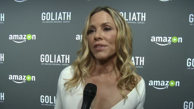 maria bello on what god life is about, on what people can expect in the show, on her character, on david kelley and amazon at the amazon red carpet... - maria bello stock videos & royalty-free footage