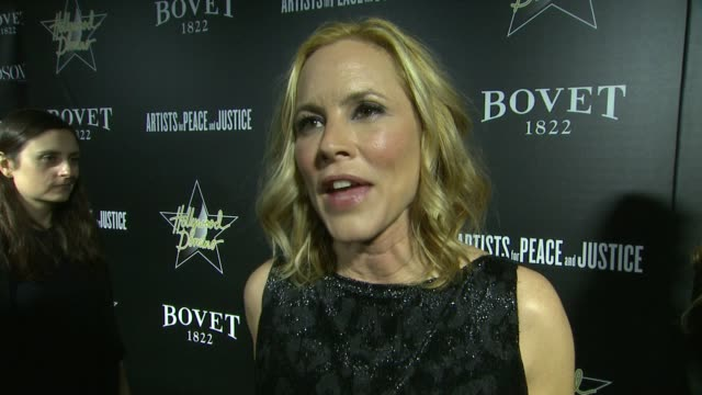 maria bello on what she's wearing, on the event, and on academy awards predictions at the 7th annual hollywood domino & bovet 1822 gala benefiting... - maria bello stock videos & royalty-free footage