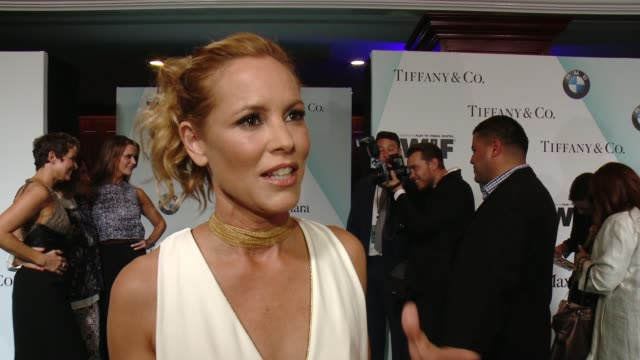 stockvideo's en b-roll-footage met interview maria bello on what tonight means and how the industry has grown at women in film 2015 crystal lucy awards presented by max mara bmw of... - hyatt