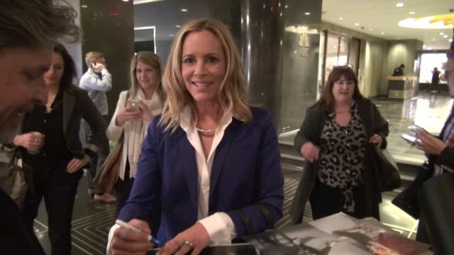 stockvideo's en b-roll-footage met maria bello signs for fans in the lobby of nbc studios in celebrity sightings in new york, - maria bello