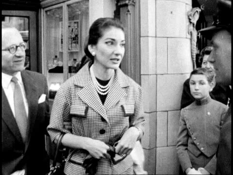 england london the strand maria callas out of chemist shop and into crowd ms callas away in car neg 16mm itn - 1950 stock videos & royalty-free footage