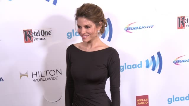 maria menounos at the 25th annual glaad media awards at the beverly hilton hotel on april 12 2014 in beverly hills california - ビバリーヒルトンホテル点の映像素材/bロール