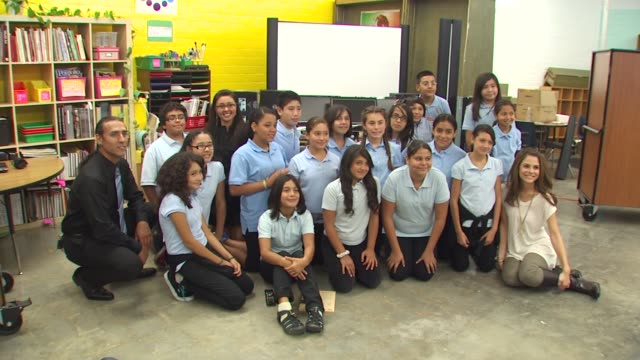 Maria Menounos with students at the Launch of Bing's 'Our School Needs' Campaign at Los Angeles CA