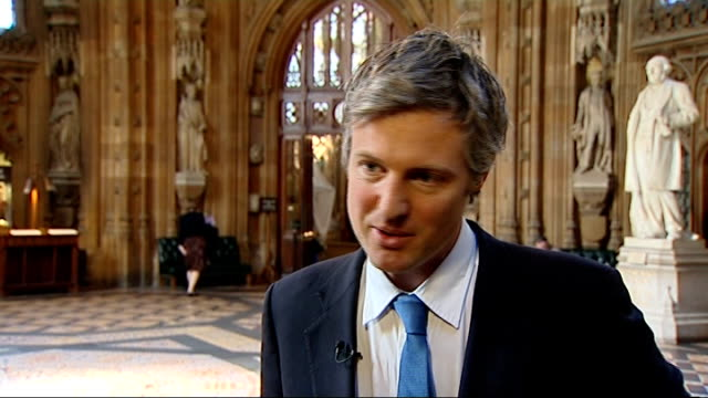 Zac Goldsmith interview ENGLAND London Westminster Houses of Parliament INT Zac Goldsmith MP interview SOT