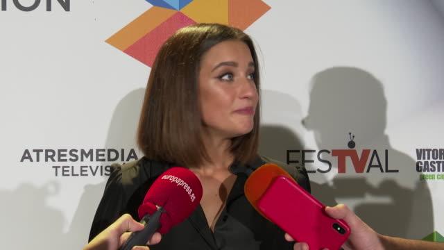 "maria pedraza attend the presentation of ""toy boy"" at festival vitoria 2019 - 年の差カップル点の映像素材/bロール"