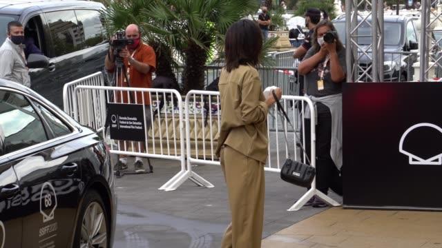 maria pedraza is seen at the maria cristina hotel during the 68th san sebastian international film festival on september 19, 2020 in san sebastian,... - 3日目点の映像素材/bロール