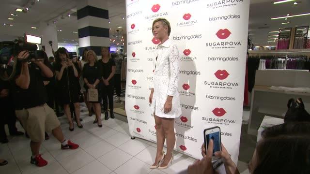 vídeos de stock, filmes e b-roll de maria sharapova at maria sharapova celebrates the new sugarpova popup shop at bloomingdale's 59th street store on august 25 2015 in new york city - maria sharapova