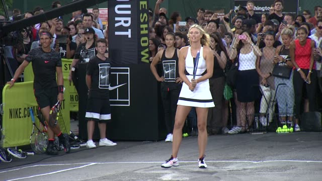 maria sharapova at nike's nyc street tennis event at tbd on august 24 2015 in new york city - maria sharapova stock videos and b-roll footage