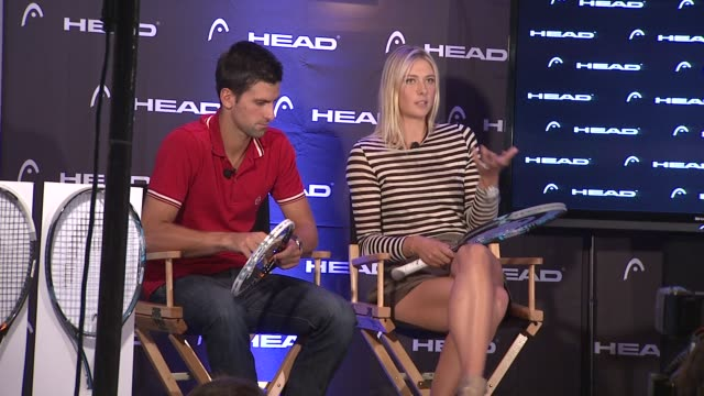 vídeos de stock, filmes e b-roll de maria sharapova describes the things one looks for in a racquet at the maria sharapova and novak djokovic unveil the latest collection from head at... - maria sharapova