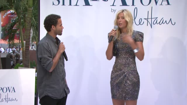maria sharapova on how she started working with cole haan at the maria sharapova unveils 'maria sharapova by cole haan' collection at new york ny - maria sharapova stock videos and b-roll footage